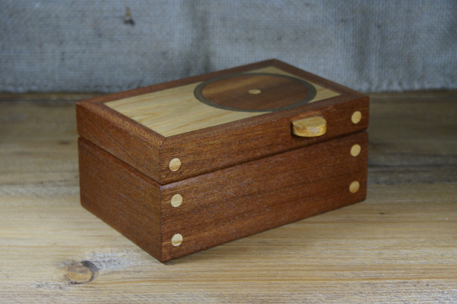 Circular Motif Wooden Trinket Box