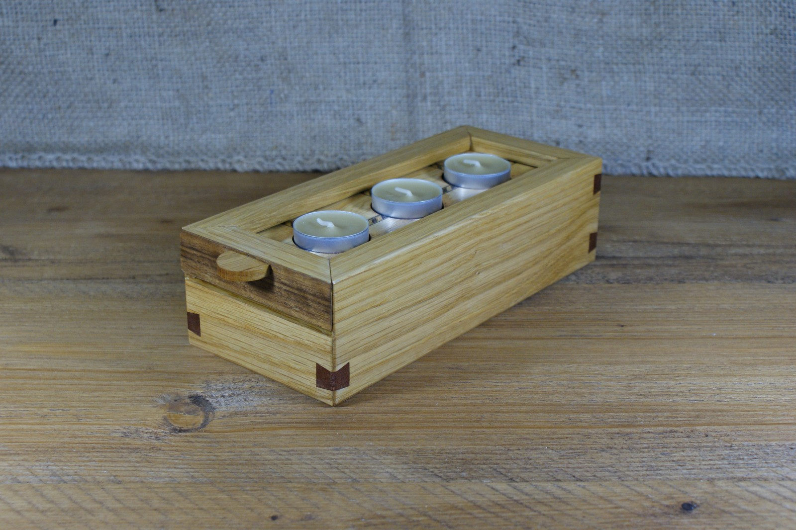 Reversible Lid Wooden Tea Light Display